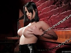 Kinky brunette dildo fucks her box in dungeon tubes