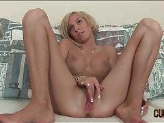 Skinny blonde with fake tits sucks dick tubes