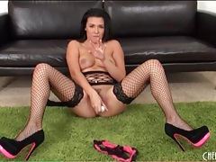 Seamed fishnets on naughty masturbating girl tubes
