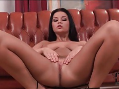 Brunette with sexy natural tits masturbates tubes