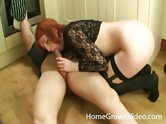 Stunning redhead rides cock in the kitchen tubes