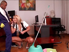 Janitor blown by a sexy blonde secretary tubes