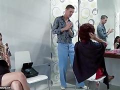 Slut sucks cock at the hair salon tubes