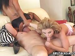 Asian slag lucy lee enjoys a kinky ffm threesome tubes
