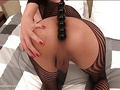 Sexy crotchless body stocking on beautiful shemale tubes