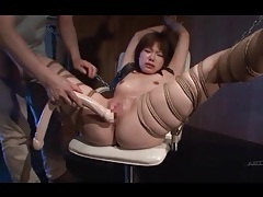 Burning hot wax drips on her japanese body tubes