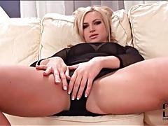 Sheer black fishnet dress on seductive blonde tubes