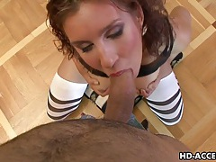 Hot brunette blows cock and gets fingered. tubes