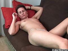 Granny gets his fingers up her full bushed pussy tubes
