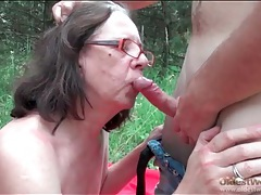 Hairy mature pussy banged by young cock outdoors tubes