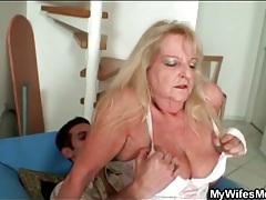 Old lady in white stockings bounces on cock tubes