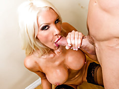 Bimbo blonde in stockings fucked hard tubes