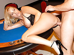 Heels and lingerie on bent over milf tubes