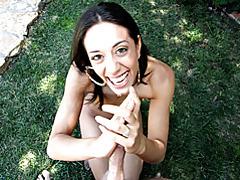Sexy smiling girl outdoor handjob tubes