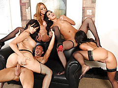 Four women and man get it on tubes