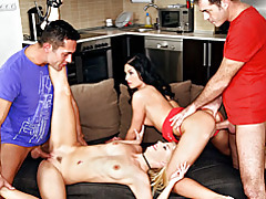 Blonde and brunette in group party tubes