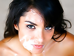 Glazing her face with a cumshot tubes