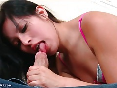 Jasmine gomez blows him in sexy lingerie tubes