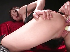 Ass toyed girl wears sexy leather boots tubes