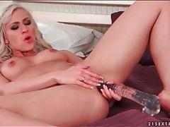Masturbating blonde fucks big dildo tubes