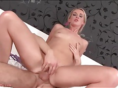 Horny hottie sits on hard cock passionately tubes