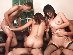 Two sluts in stockings star in orgy video tubes
