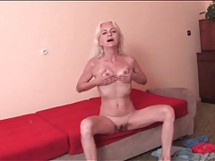 Skinny old blonde offers us her hot pussy tubes