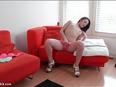 Cute brunette strips to her sexy panties tubes