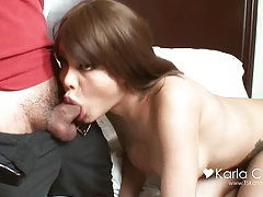 Shemale karla carrillo sucking a huge cock and swallowing his load tubes