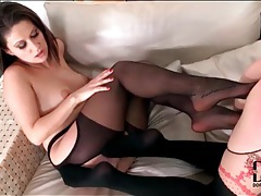 Chicks in nylons fool around in lesbian porn tubes