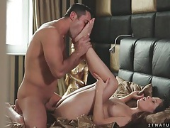 Cock in her pussy as he sucks on her toes tubes