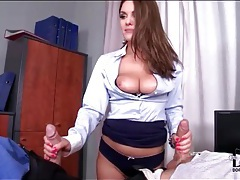 Business slut sucks two coworkers tubes