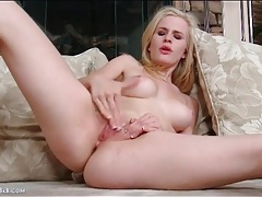 Sweet solo blonde gently masturbates pussy tubes