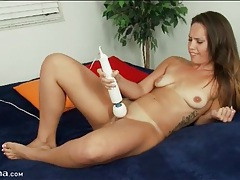 Shaved pussy masturbated by vibrator tubes