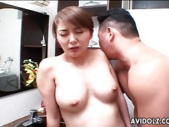 Hairy japanese milf pussy licked in bathroom tubes