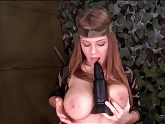 Military girl with big tits plays solo tubes