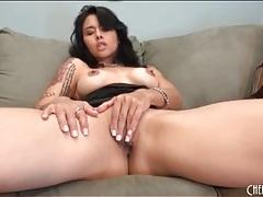Dana vespoli masturbates in little black dress tubes