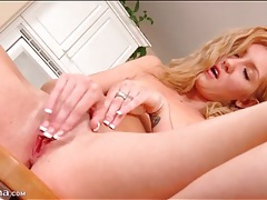 Blonde cums from masturbation and gets dressed tubes