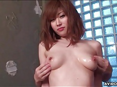 Small japanese tits oiled up and groped tubes