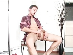 Cute boy furiously masturbates his dick tubes