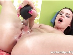 Teen pussy cums thick liquid in close up tubes