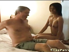 White guy lies back for a sexy asian blowjob tubes