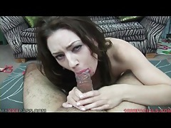 Spit soaked blowjob from a brunette slut tubes