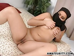 Arab girlfriend sucks and fucks with facial tubes