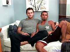 Athletic gay hotties in a cocksucking video tubes