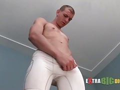Skinny guy strips to his tight white briefs tubes