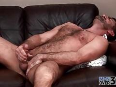 Bear masturbates and toys his asshole tubes