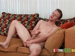 Smooth and skinny solo guy anally toys tubes