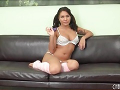 Big butt chick mena li looks cute in pigtails tubes
