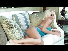 Blue lace lingerie on solo blonde alicia secrets tubes